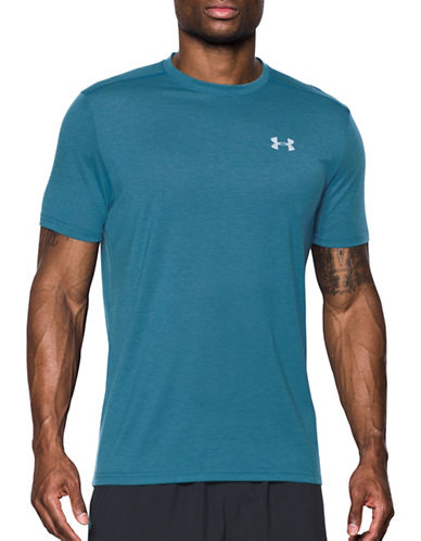 Under Armour Threadborne Streaker T-Shirt-BAYOU BLUE-Large