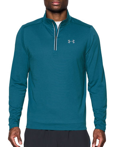 Under Armour Threadborne Streaker Quarter-Zip Top-BAYOU BLUE-Large