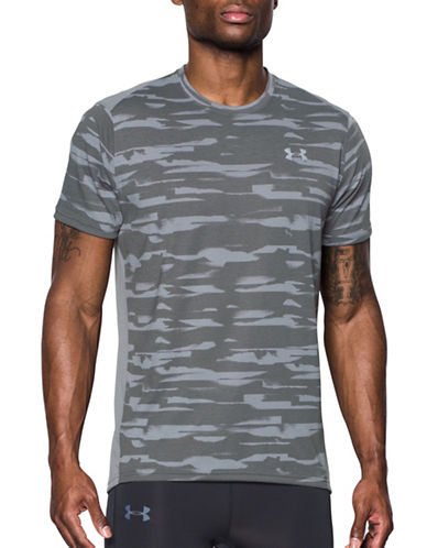 Under Armour Threadborne Run Mesh Tee-GREY-Small