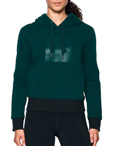 Under Armour Metallic Graphic Logo Hoodie-GREEN-X-Large