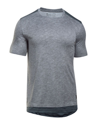 Under Armour Heathered Layered Tee-GREY-X-Large