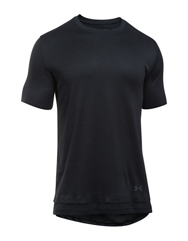 Under Armour Mesh Paneled Layered T-Shirt-BLACK-X-Large