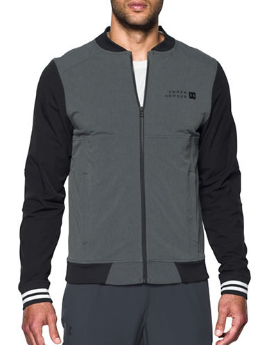 Under Armour Fitted Sportstyle Woven Bomber Jacket-GREY-Medium 89322684_GREY_Medium