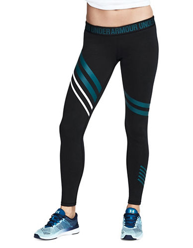 Under Armour Striped Tights-GREEN-X-Large