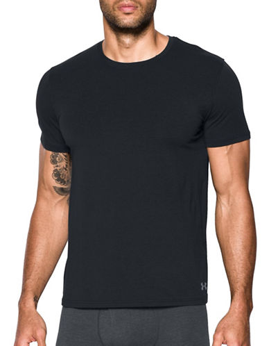 Under Armour Two-Pack Stretch Crew Undershirt Set-BLACK-X-Large
