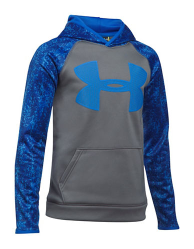 Under Armour Fleece Logo Hoodie-GREY-X-Large