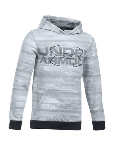 Under Armour Threadborne Logo-Print Hoodie-GREY-X-Large
