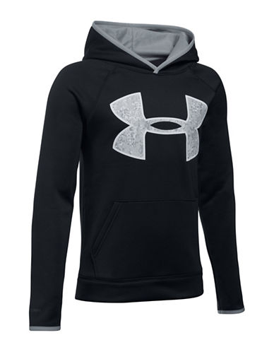 Under Armour Contrast Logo Drawstring Hoodie-BLACK-Small