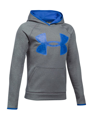 Under Armour Sporty Logo Hoodie-GREY-X-Large