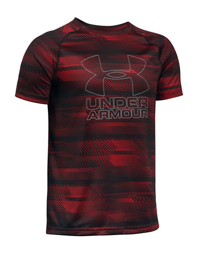 Under Armour UA Hybrid Big Logo Striped Tee-RED-Medium 89245144_RED_Medium