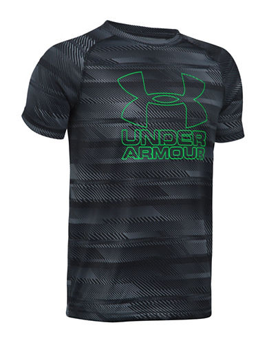 Under Armour UA Hybrid Big Logo Striped Tee-BLACK-Large 89245139_BLACK_Large
