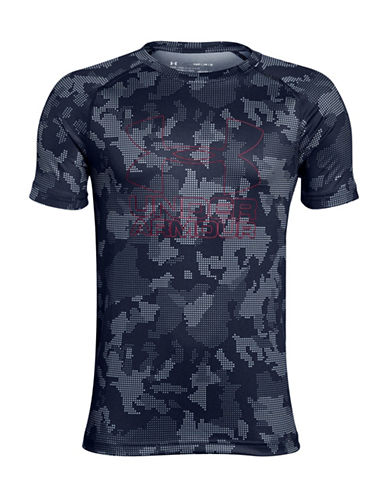 Under Armour Big Logo Hybrid Printed Tee-BLUE-Small
