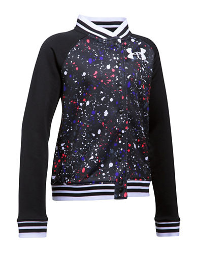 Under Armour Splatter Print Fleece Bomber Jacket-BLACK-Large 89325652_BLACK_Large