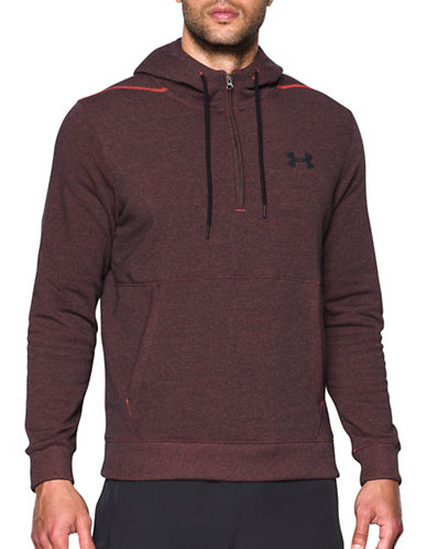 Under Armour Threadborne Seamless Hoodie-RED-X-Large