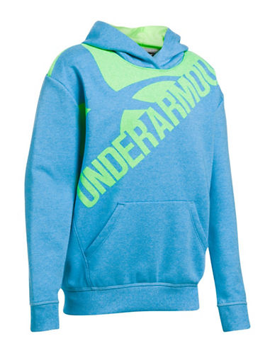 Under Armour Logo Print Cotton Hoodie-BLUE-Small