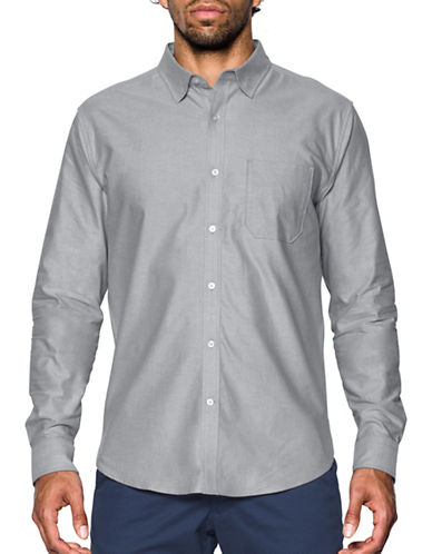Under Armour Performance Fall Oxford Sports Shirt-SILVER-Small