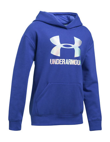 Under Armour Threadborne Fleece Hoodie-BLUE-Small