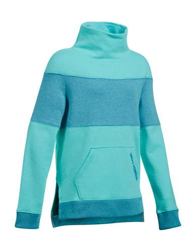 Under Armour Striped Mock Neck Pullover-BLUE-Small