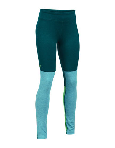 Under Armour Colourblocked Leggings-GREEN-Small