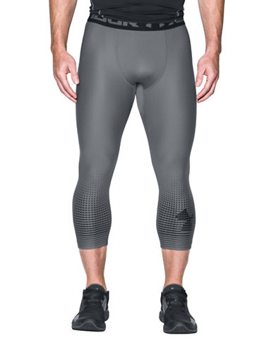 Under Armour HeatGear Armour Graphic Three-Quarter Leggings-LIGHT GREY-XX-Large