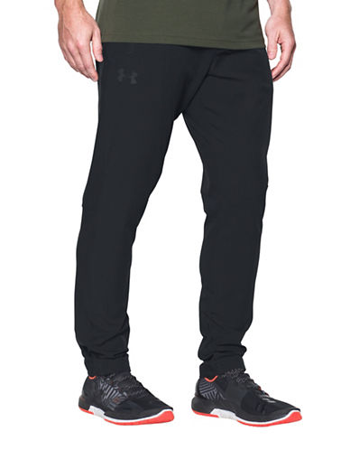 Under Armour Woven Tapered Leg Pants-BLACK-Medium 89322674_BLACK_Medium
