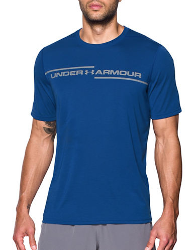 Under Armour Threadborne Cross Chest T-Shirt-BLUE-Medium