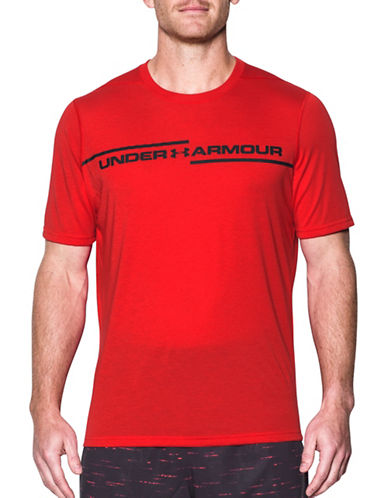 Under Armour Threadborne Cross Chest T-Shirt-RED-X-Large