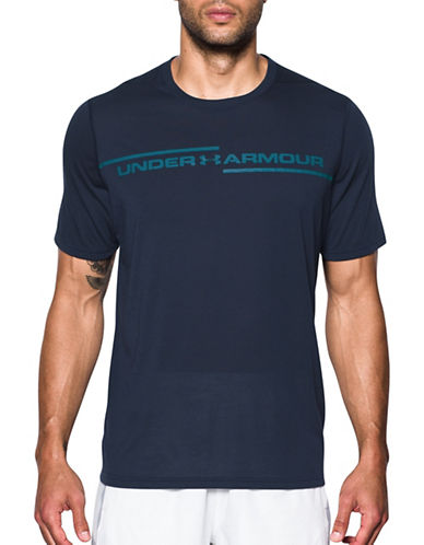 Under Armour Threadborne Cross Chest T-Shirt-NAVY-Large