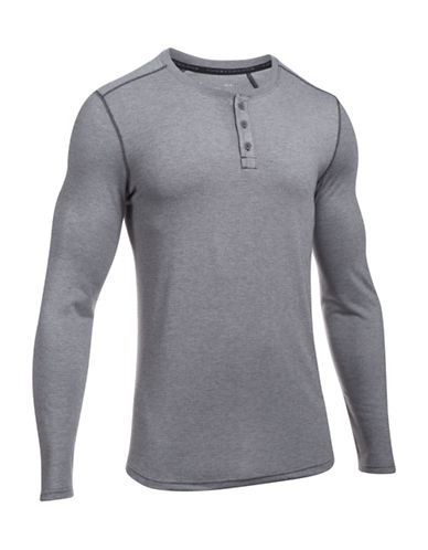 Under Armour Threadborne Cross Chest Henley-GREY-Large