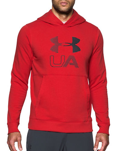 Under Armour Threadborne Fleece Graphic Hoodie-RED-X-Large