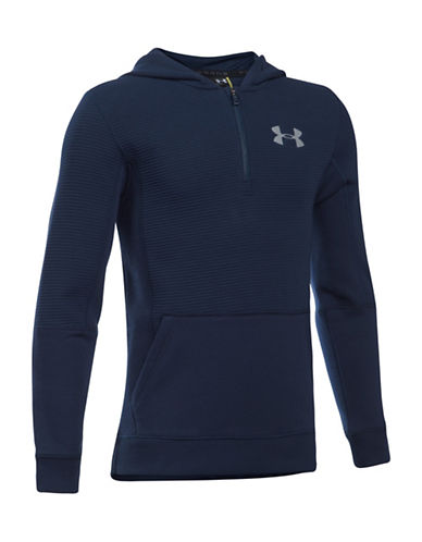 Under Armour Logo Ribbed Hoodie-BLUE-Small