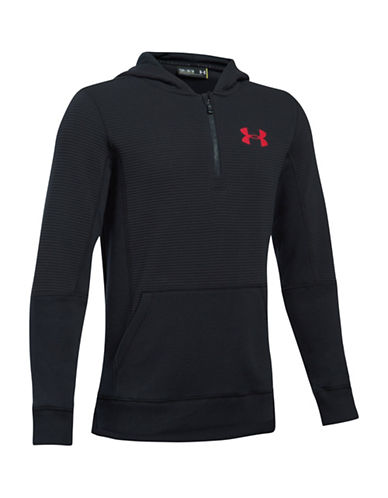 Under Armour Logo Ribbed Hoodie-BLACK-Small