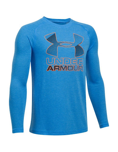 Under Armour UA Hybrid Big Logo Heathered Tee-BLUE-Medium 89245135_BLUE_Medium