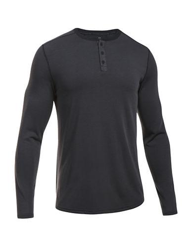Under Armour UA Threadborne Knit Henley-BLACK-X-Large