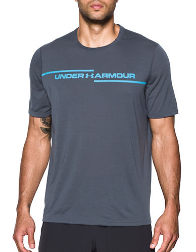 Under Armour Threadborne Knit Tee-GREY-Large
