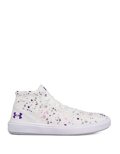 Under Armour Girls Splatter Mid-Top Sneakers-WHITE-3.5