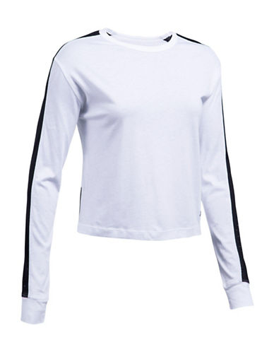 Under Armour Favorite Mesh Long Sleeve Graphic Top-WHITE-Small