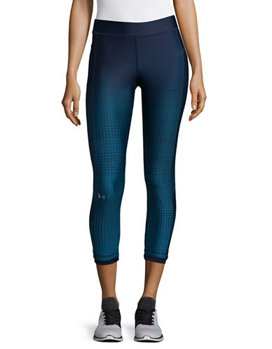 Under Armour Compression Fit HeatGear Armour Graphic Ankle Leggings-NAVY-Small