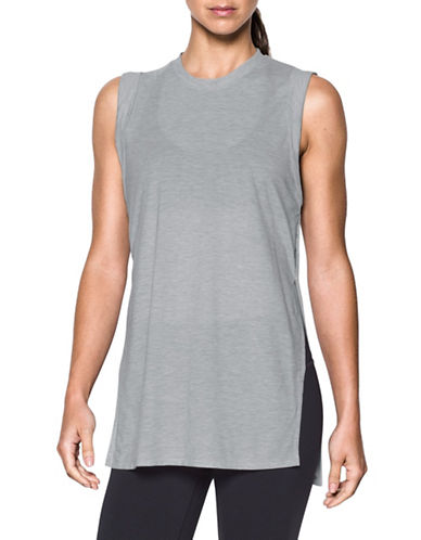 Under Armour Breathe Tunic Tank Top-GREY-X-Small