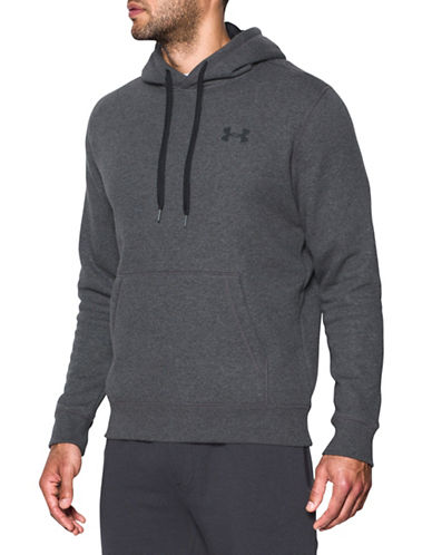 Under Armour Rival Fitted Pullover Hoodie-GREY-Small
