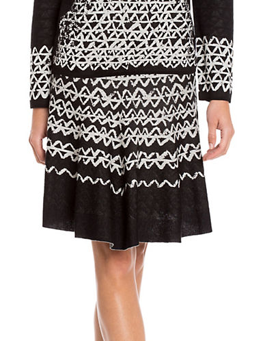 Nic+Zoe PETITE Geo Print Chic Skirt-BLACK MULTI-Petite Large