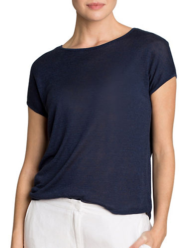 Nic+Zoe Everyday Linen-Blend Tissue T-Shirt-BLUE-X-Small 89011311_BLUE_X-Small