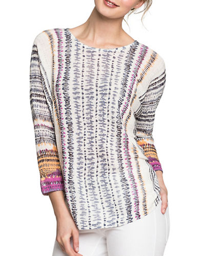 Nic+Zoe Bright Beat Linen-Blend Top-MULTI-Small