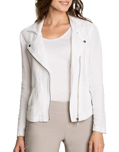 Nic+Zoe Linen Biker Jacket-WHITE-Medium 89182633_WHITE_Medium
