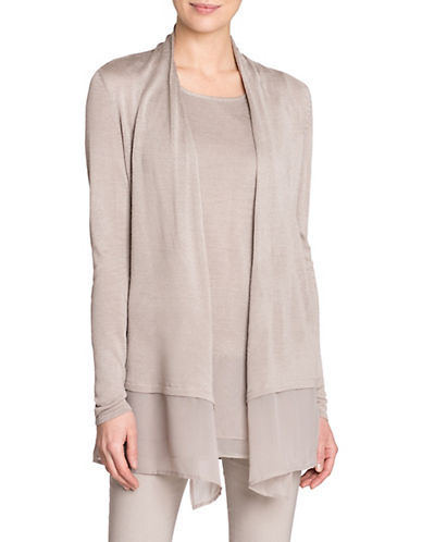 Nic+Zoe Plus Chiffon Trim Silk-Blend Cardigan-GREY-2X