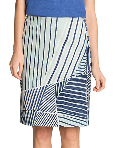 Nic+Zoe PETITE Striped Skirt-MULTI-8P