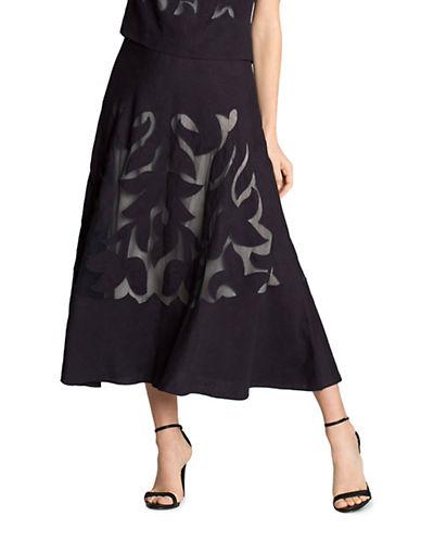 Nic+Zoe Plus Secret Garden Linen Blend Skirt-BLUE-24W