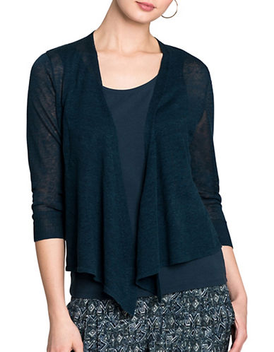 Nic+Zoe Four-Way Linen-Blend Cardigan-BLUE-X-Small