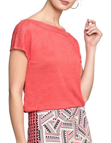 Nic+Zoe Crochet Trim Tee-CORAL-Large
