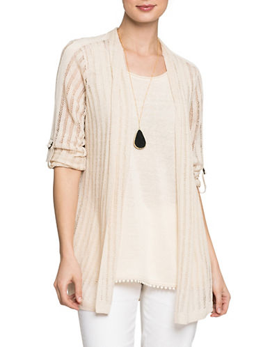 Nic+Zoe Sheer Nights Cardigan-SANDSHELL-Large